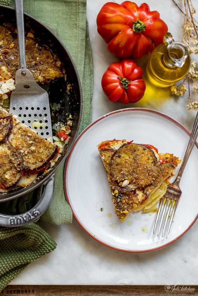 Eggplant, tomato and potato gratin