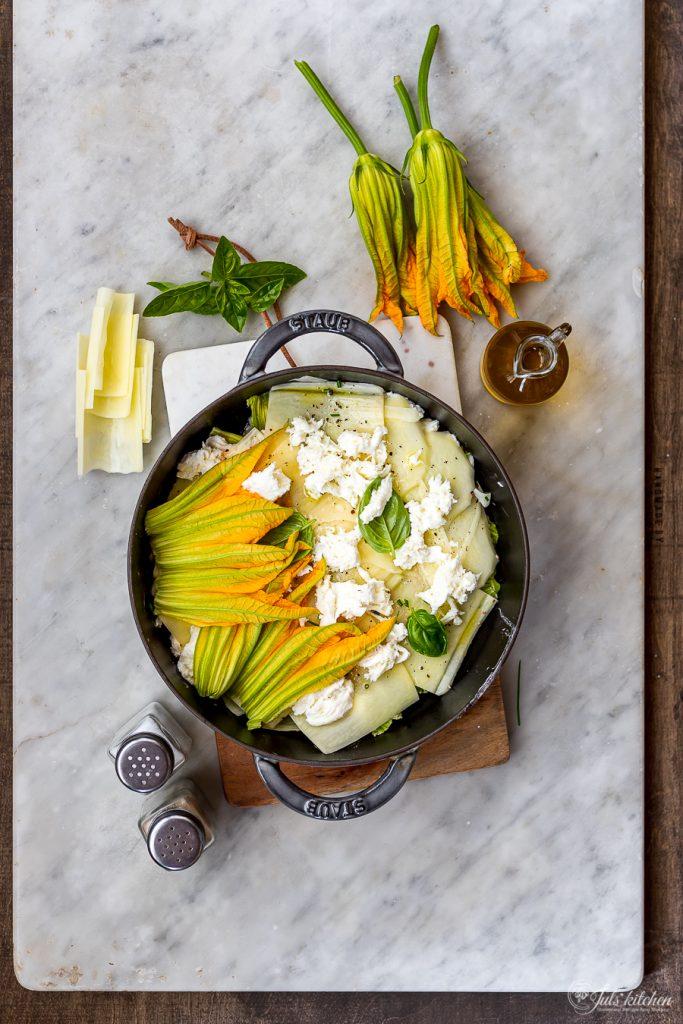 Zucchini blossom and potato casserole