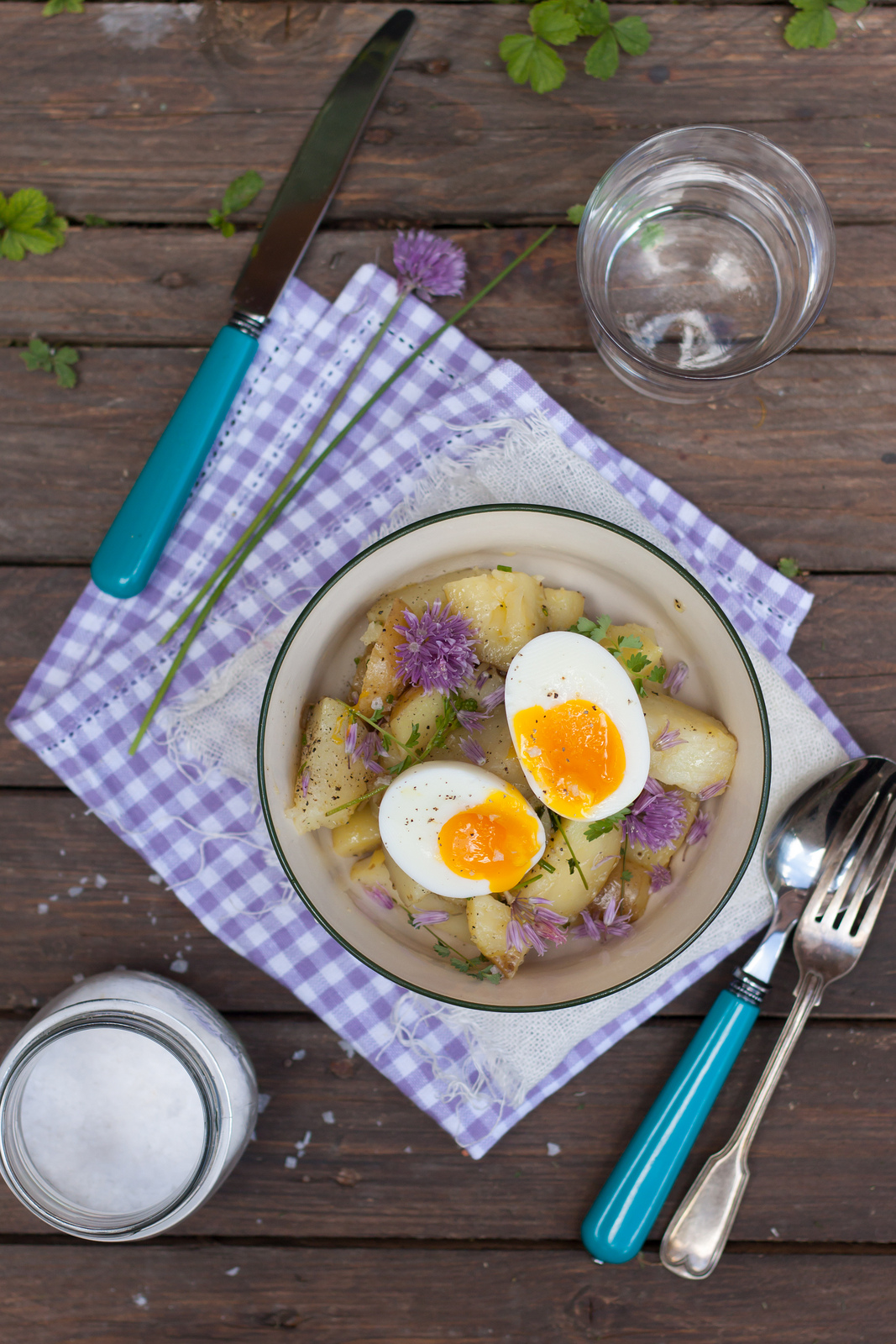 You Buy Me With Flowers: Potato Salad With Chives Flowers And Soft Boiled Eggs
