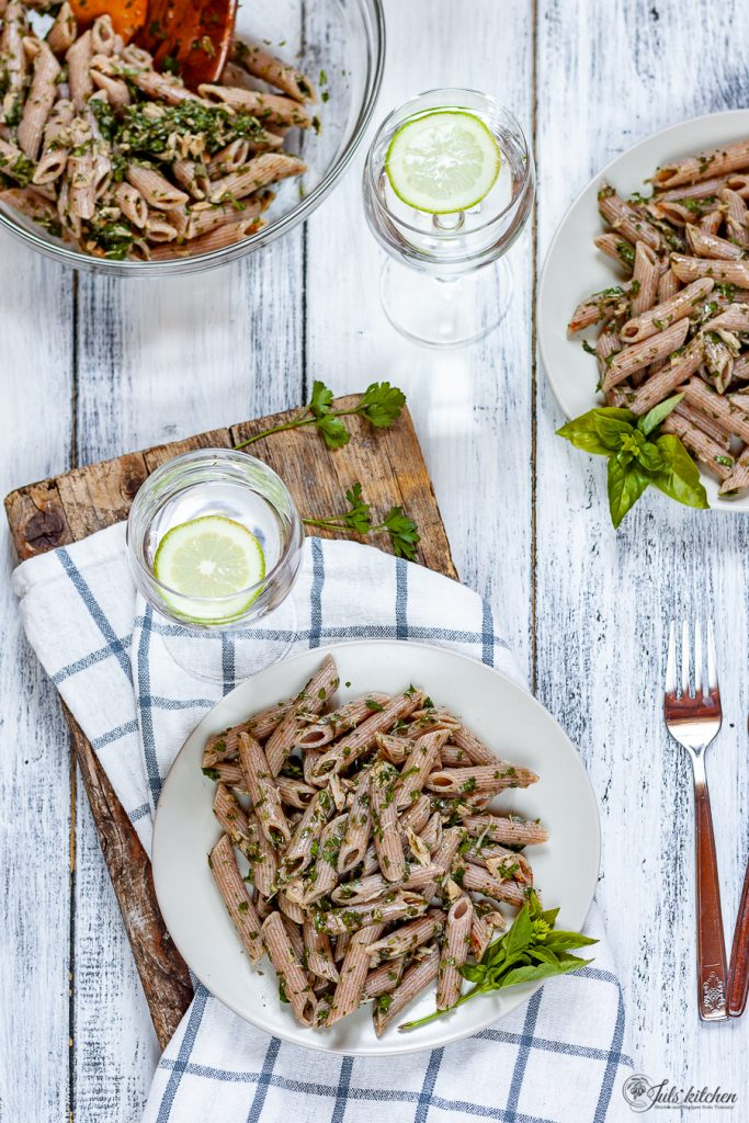 Pasta with tuna, capers and fresh herbs