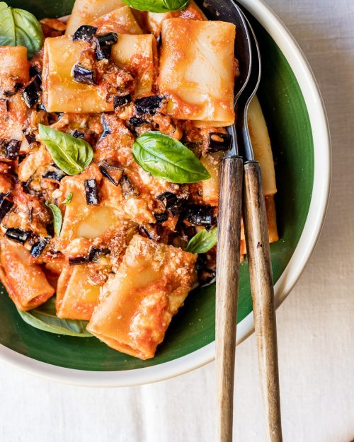 Pasta With Fried Eggplants