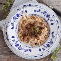 Fresh Spelt Pasta With Dried Mushrooms Dressing