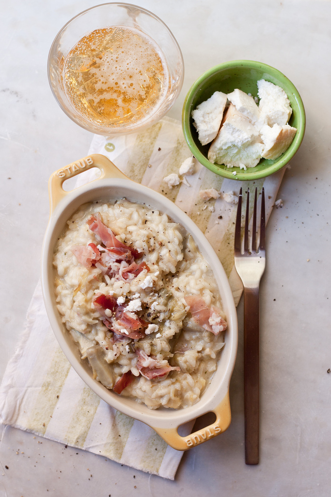 Beer And Artichoke Risotto With Crumbled Goat Cheese