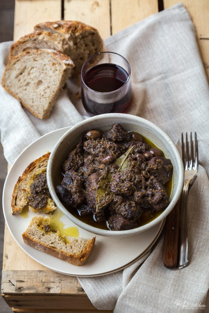 Stewed wild boar with olives