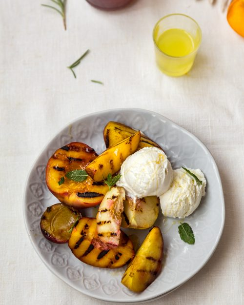 Grilled Stone Fruit With Gelato