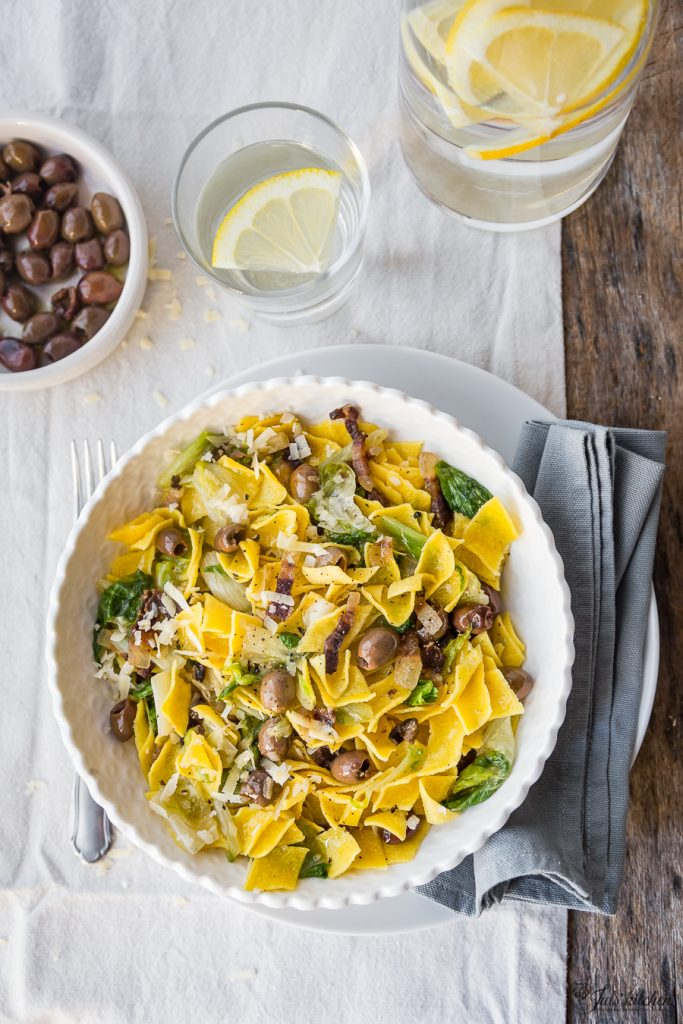 Maltagliati with olives
