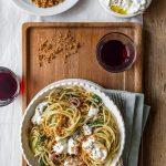 Spaghetti with agretti, burrata and anchovies