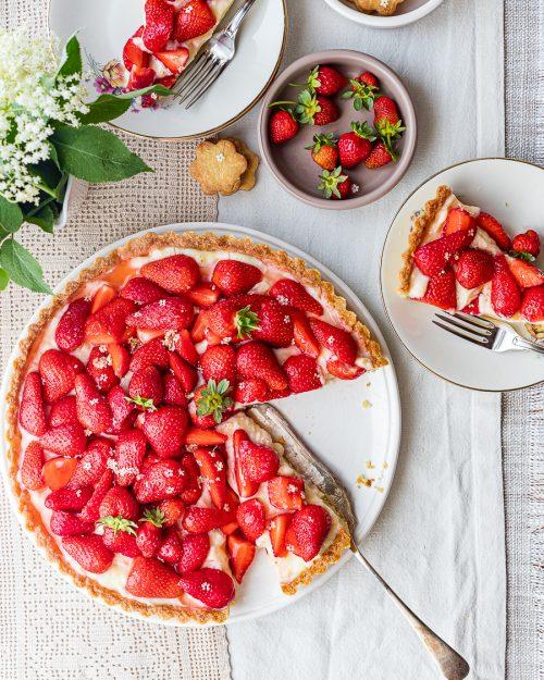 Strawberry Tart With Elderflower Pastry Cream