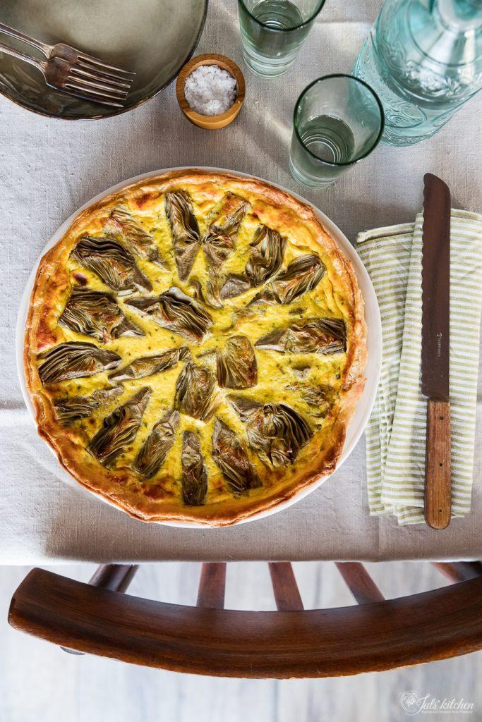Artichoke ricotta tart