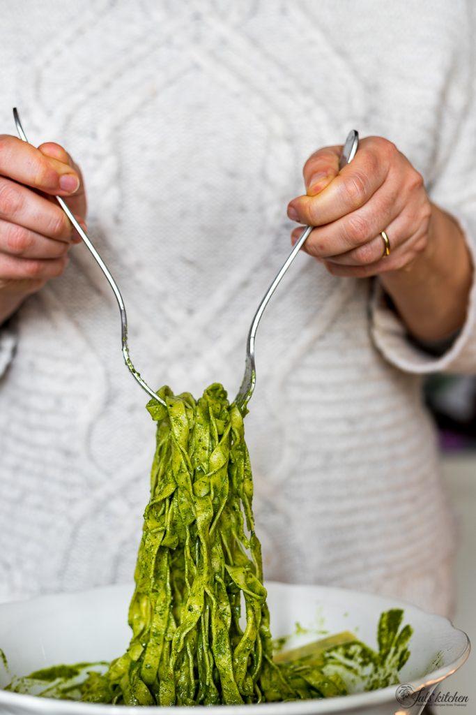 Home-made tagliatelle with Tuscan kale pesto