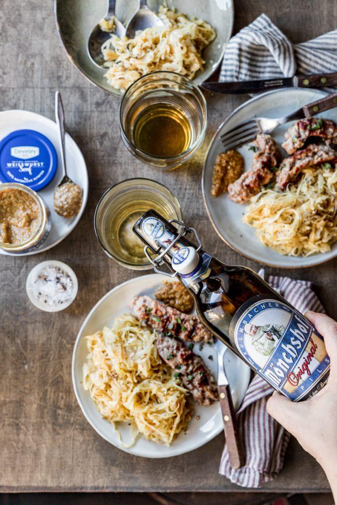 Grilled sausages and sauerkraut